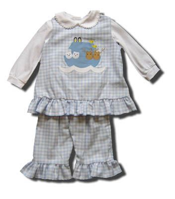 Funtasia Too Artic Ark blue checked popover set with Noahs Ark on the front and peter pan shirt. Matches the boys.
