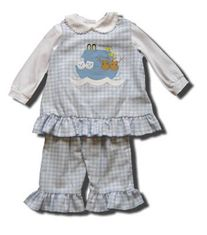 Funtasia Too Artic Ark blue checked popover set with Noahs Ark on the front. Blouse not included.
