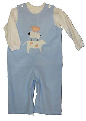 Funtasia Too Baby Blues blue longalls with three animals stacked on the front and a matching white turtleneck. Great for school and play.