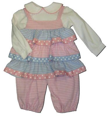 Funtasia Too Baby Blues and Pink Too pink and blue checked tiered popover set with a white blouse with pink ric rac. Very cute and comfortable.