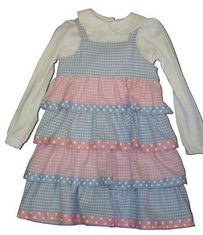 Funtasia Too Baby Blues and Pink Too tiered pink and blue checked jumper with NO white blouse. Fun and great for everyday.