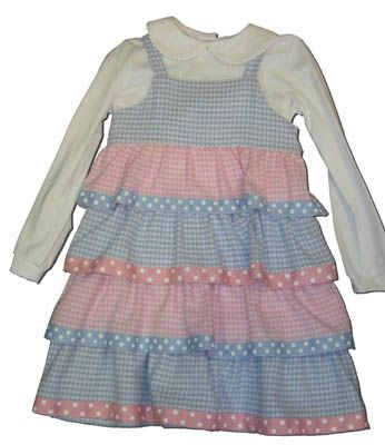 Funtasia Too Baby Blues and Pink Too tiered pink and blue checked jumper with a white blouse. Fun and great for everyday.