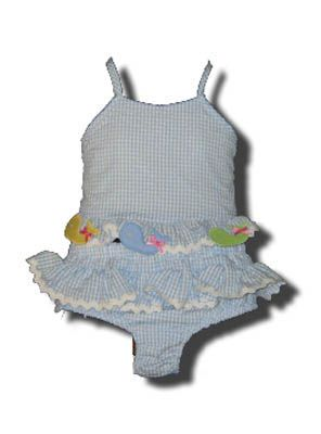 Funtasia Too Bathing Beauties blue and white checked two piece seersucker swimsuit with whales on the front. Super cute and a popular style.