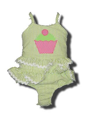 Funtasia Too Bathing Beauties green and white striped two piece seersucker swimsuit with a cupcake on the front. Super cute and a popular style.