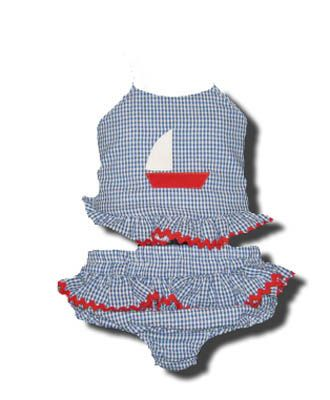 Funtasia Too Bathing Beauties navy and white checked two piece seersucker swimsuit with a sailboat on the front. Super cute and a popular style.