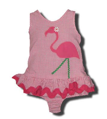 Funtasia Too Bathing Beauties pink checked one piece seersucker swimsuit with a flamingo on the front. Super cute and a popular style.