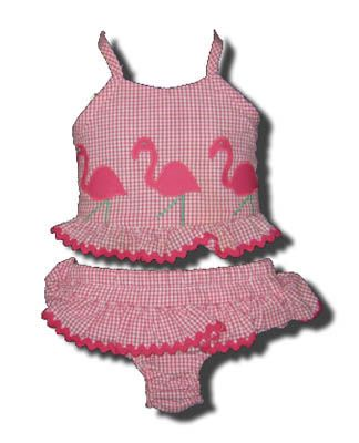 Funtasia Too Bathing Beauties pink checked two piece seersucker swimsuit with a flamingo on the front. Super cute and a popular style.