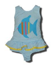 Funtasia Too Bathing Beauties turquoise and white striped one piece seersucker swimsuit with a fish on the front. Super cute and a popular style.