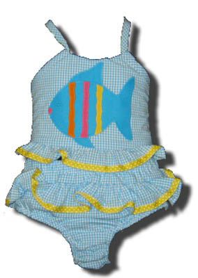 Funtasia Too Bathing Beauties turquoise and white striped two piece seersucker swimsuit with a fish on the front. Super cute and a popular style.