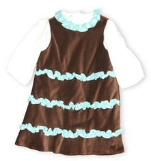 Funtasia Too Beautiful Princess chocolate velour jumper with light blue ruffles and a white blouse with a blue collar.
