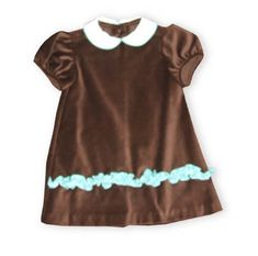 Funtasia Too Beautiful Princess chocolate velour short sleeve dress with light blue ruffle.