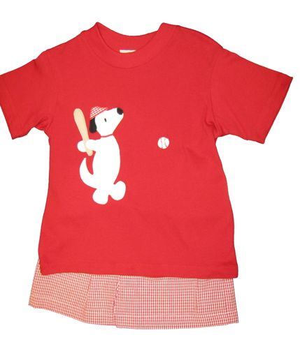 Funtasia Too Billy the Baseball Dog Short Set with applique. Soft cotton.
