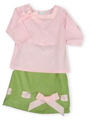 Funtasia Too Bows and More knit pink three quarter length shirt with a bow and a matching green corduroy skirt with a pink ribbon bow.