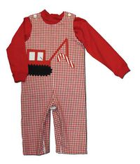 Funtasia Too boys clothes Candyland red and white checked longall with a crane and candy cane appliqued on the front. Reverses to have a truck on the other side. Turtleneck not included.