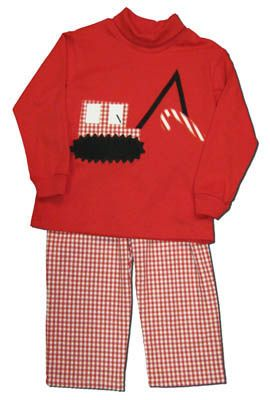 Funtasia Too boys clothes Candyland red turtleneck with a crane and candy cane appliqued on the front and matching red checked pants.