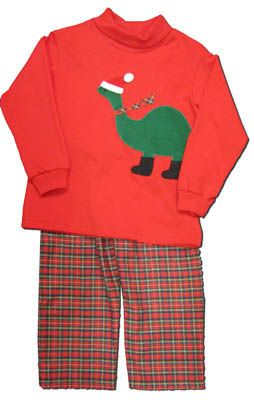 Funtasia Too boys clothes Dino Cheer red turtleneck with a wintry dinosaur on the front and matching plaid pants. Fun and festive.