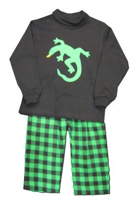 Funtasia Too boys clothes Hissss black shirt with a lizard on the front and matching green and black checked pants. Very soft and comfortable.