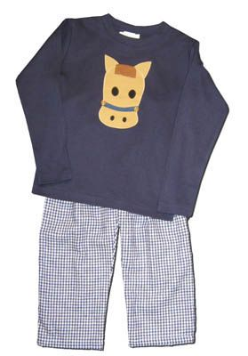 Funtasia Too boys clothes Horse Lane blue shirt with a horse head appliqued on the front and matching blue and white checked pants. Matches the girls and so fun for your horse lover.