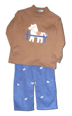 Funtasia Too boys clothes Hungry Horse brown turtleneck with a horse on the front and matching navy pants with embroidered horses. Matches the girls and so fun for your horse lover.