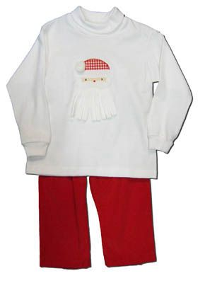 Funtasia Too boys clothes I Love Santa white shirt with a Santa face on the front and matching red pants. Matches the girls and is perfect for festive occasions.