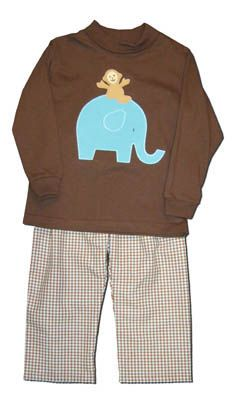 Funtasia Too boys clothes Jungle Ride brown shirt with an appliqued elephant and monkey on the front and matching brown and white checked pants. Super cute and matching the girls.