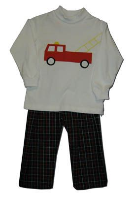Funtasia Too boys clothes Light the Fire white turtleneck with a firetruck on the front and plaid pants. Very cute.