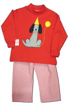 Funtasia Too boys clothes Live to Party red turtleneck with a party dog on the front and matching red checked pants. Very cute and looks good with the Wish Upon a Cupcake in the girls section.