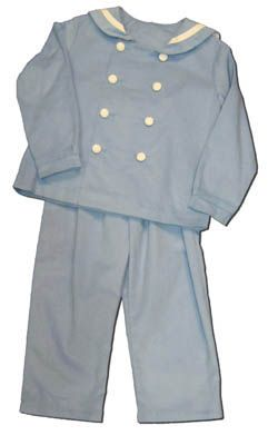 Funtasia Too boys clothes Sea Lover blue sailor pants that buttons up the front. Classic and matches the girls.