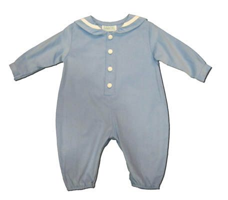 Funtasia Too boys clothes Sea Lover blue sailor romper that buttons up the front. Classic and matches the girls.