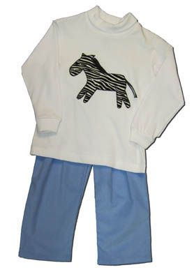 Funtasia Too boys clothes Zebra Falls white turtleneck with a zebra on the front and blue pants. Very comfortable and matches the girls.