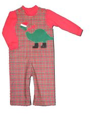 Funtasia Too boys infant clothes Dino Cheer plaid longalls with a wintry dinosaur on the front and red turtleneck. Fun and festive.