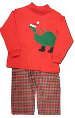 Funtasia Too boys infant clothes Dino Cheer red turtleneck with a wintry dinosaur on the front and matching plaid pants. Fun and festive.