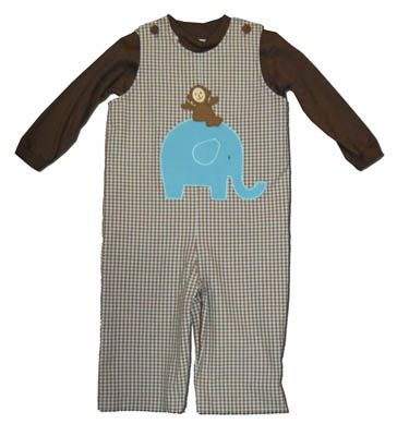 Funtasia Too boys infant clothes Jungle Ride brown and white checked longall with an appliqued elephant and monkey on the front. Super cute and matching the girls.