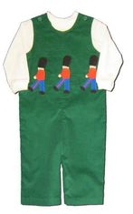 Funtasia Too boys infant clothes On the March green longalls with three soldiers on the front and a white turtleneck. Very comfortable and cute.