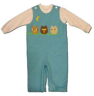Funtasia Too boys infant clothes Owl Pal blue longall with three owls on the front and a white turtleneck. Comfortable, cute, and matches the girls.