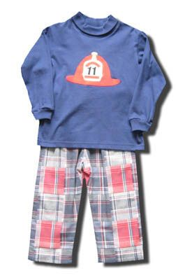 Funtasia Too Boys Rule cute pant set with a fire chief hat on the front and matching patchwork pants. Comfortable and great for school and play.