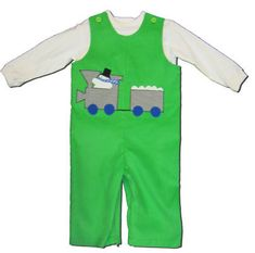 Funtasia Too boys toddler clothes green longall with a train and snowman on the front. Super adorable.
