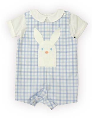 Funtasia Too Bunny Kisses baby boy clothes blue and white checked shortall with a bunny rabbit on the front and white peter pan shirt. It also reverses and has a boat on the reverse side. Super cute and matches the girls popover and jumper.