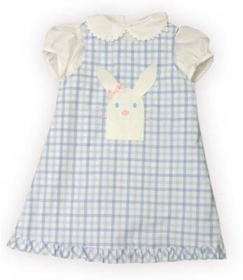 Funtasia Too Bunny Kisses blue and white checked jumper with a bunny rabbit on the front and white blouse with ric rac. It also reverses and has a boat on the reverse side. Super cute and matches the boys shortall.
