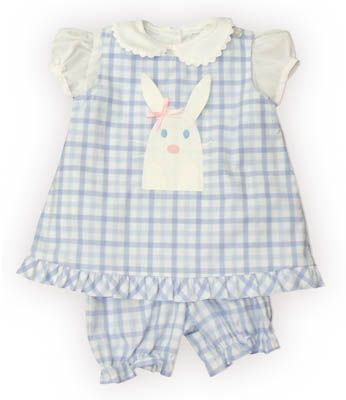 Funtasia Too Bunny Kisses blue and white checked popover set with a bunny rabbit on the front and white blouse with ric rac. It also reverses and has a boat on the reverse side. Super cute and matches the boys shortall.