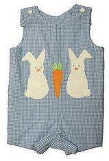 Funtasia Too Bunny`s Best blue checked reversible shortall with two bunnies and a carrot on one side and fish on the other side. Very versatile for all occasions and matches the girls.