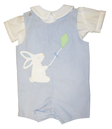 Funtasia Too Butch the Bunny Reversible Shortall with applique. Reverses to a Boat appliqued. Snaps in the inseam. Shirt not included.