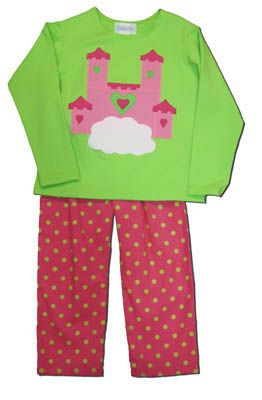 Funtasia Too Castle in the Sky green shirt with a castle on the front and matching pink pants with green polka dots. Very soft for your princess.