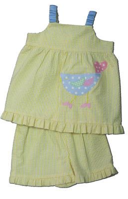 Funtasia Too Cheep Chip yellow checked seersucker short set with a bird on the front. Super cute and comfy.
