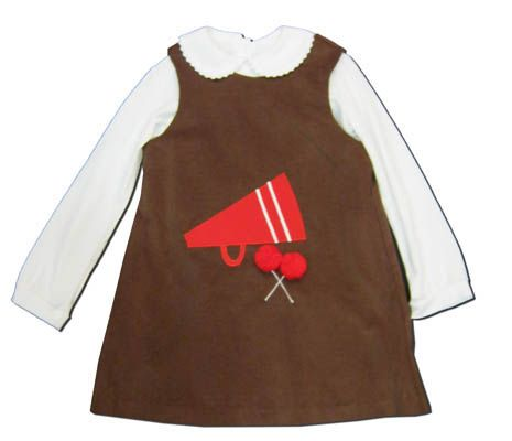 Funtasia Too Cheer Squad brown corduroy jumper with a megaphone and pom poms on the front. Great for your cheerleader.