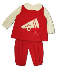 Funtasia Too Cheer Squad red corduroy popover set with a megaphone and pom poms on the front. Great for your little cheerleader. Blouse included.