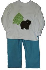 Funtasia Too Chocolate Bear pant set with bear appliqued.