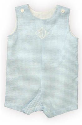 Funtasia Too Chris baby boy clothes blue and white checked shortall. Very handsome and would look great with some saddle oxford shoes and knee socks.