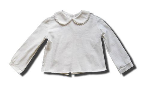 Funtasia Too Christie white knit blouse with white ric rac. Classic and practical.
