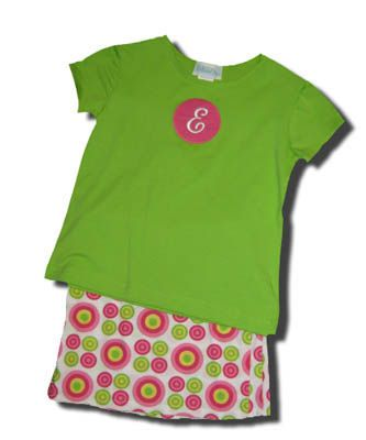 Funtasia Too Circle Around lime shirt with a dot on the front and matching circles skort. Very cute.